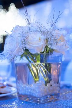Big Fat Greek   Italian Wedding. Winter Wedding, Italian Wedding, Greek Wedding, Rose Centerpiece, Baby's Breath, Pearl Centerpiece