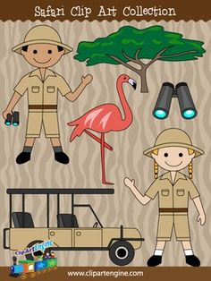 This collection includes a set of 6 royalty-free clip art graphics. It comes with black and white line art files of each safari design. The safari clip art in this collection are a flamingo, binoculars, safari boy, safari girl, safari jeep, and a savanna tree.