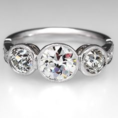Vintage Bezel Set Three Stone Diamond Engagement Ring Platinum