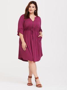 f493b301958 Burgundy Zip Challis Shirt Dress - A split neck and roll tab sleeves lend  polish to