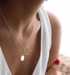 Gold circle necklace - Round necklace - Karma necklace - Minimal necklace - Dainty necklace - Minimalist necklace - Minimal jewelery Gold Circle Necklace, Short Necklace, Dainty Necklace, Simple Necklace, Gemstone Necklace, Beaded Necklace, Layered Necklace, Minimalist Necklace, Minimalist Jewelry