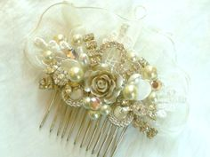Romantic Bridal Hair Comb in Ivory with Champagne Rose- Rhinestone & Pearl Wedding Hair Piece- Hair Accessories. $59.00, via Etsy.