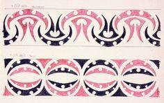 Kowhaiwhai or Maori rafter patterns. Godber notes that 'The colour in this represents the pattern Ngutukaka' [Kaka or parrot beak]Patiki - drawn by an old Maori named Riwai Pakerau of Waipiro Bay. Maori Art, Maori Tattoos, Maori Symbols, Maori Patterns, Maori People, Maori Designs, Henna Body Art, Pattern And Decoration, Shape Design