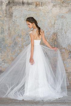 Wedding dress, soft tulle, 100% natural soft silk, lace Wedding dress FELICE