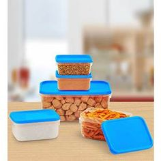 All Time Polka Kitchen Container 5 Pcs Set Blue colour at Rs.99 only - Pepperfry