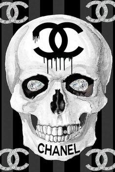 Chanel Skull Canvas Print by Studio One Skull Artwork, Skull Painting, Canvas Artwork, Canvas Art Prints, Chanel Wall Art, Chanel Decor, Chanel Art, Chanel Canvas, Chanel Wallpapers