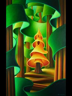 Spying on Golden Spruce - Dana Irving - Dana Irving is a Canadian artist, living working in North Vancouver, British Columbia. Landscape Art, Landscape Paintings, Landscapes, Naive, Canadian Artists, Felt Art, Whimsical Art, Tree Art, Art Lessons
