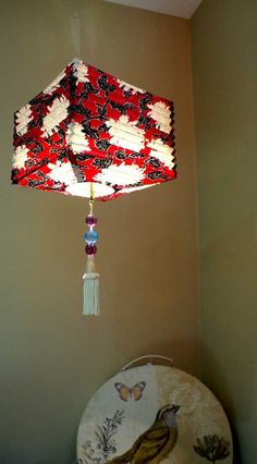 Red Fabric Floral Lantern 21cm Square  Ceiling by BilasLanterns, $40.00