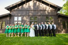 The backside of Happy Days Lodge is one of our favorite spots for bridal party photos! Photo: Delumpa Photography
