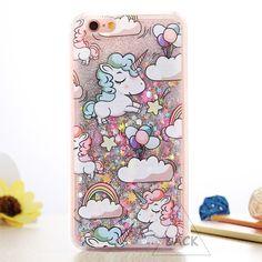 """Cartoon Unicorn Pferd Abdeckung Dynamische Glitter Stars Dynamischer Flüssiger Phone Cases für iPhone 6 Fall Für iphone 6 S 6 Plus 4,7/5,5 """"neue"""