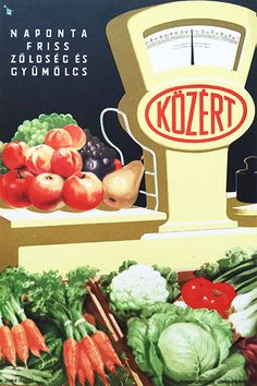 Fresh Fruit and Vegetables on a Daily Basis from the Grocery Store / Napont friss zöldség és gyümölcs - Közért 1950s