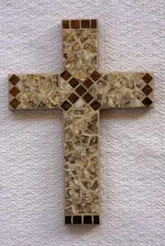 "6 x 9"" mosaic cross using broken plate and ceramic mini tiles - SOLD"