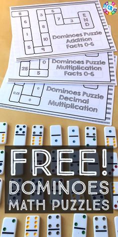 Looking for a fun and easy-to-use math center for practicing addition facts, multiplication facts, or decimal multiplication? Check out these dominoes math puzzles at games4gains.com!