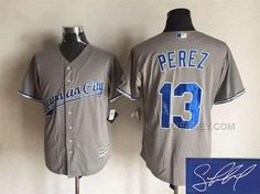 http://www.xjersey.com/royals-13-salvador-perez-grey-signature-edition-new-cool-base-jersey.html ROYALS 13 SALVADOR PEREZ GREY SIGNATURE EDITION NEW COOL BASE JERSEY Only $35.00 , Free Shipping!