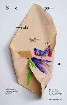 Modern Art, London: 5-27 June 2015 Opening Thursday 4 June, 6-8pm Richard Tuttle: 'Separation' Modern Art is pleased to announce a solo exhibition of new work by Richard Tuttle. It is Tuttle's third solo show with Modern Art. This exhibition at Modern Art comprises four new bodies of work made over the course of the past year.
