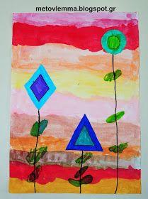Με το βλέμμα στο νηπιαγωγείο και όχι μόνο....: Τα σχηματολούλουδά μας.Κολάζ και φύλλα εργασίας Shapes, Blog, Painting, Painting Art, Paintings, Painted Canvas, Drawings