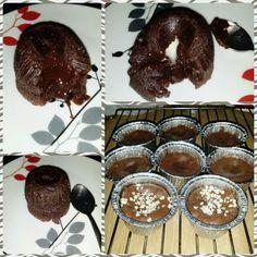 Coulants de chocolate.. Rico postre a todas horas!! #chocolate #Coulant #chocolateblanco #almendras #gordissinremordimientos #hayparatodos #homemade
