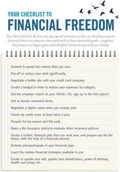 Your checklist for financial freedom Your life is full of to-do lists, but pay special attention to this one. Build your secure financial future one step at a time with each of these strategies—together, they will result in financial wellness for you and Financial Peace, Financial Literacy, Financial Tips, Financial Planning, Financial Assistance, Budgeting Finances, Budgeting Tips, Ways To Save Money, Money Saving Tips