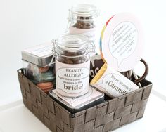 This is a gift basket idea for those guests who will be traveling to make the wedding. Some candy for their hotel rooms :) Wedding Gifts For Guests, Wedding Ideas, Wedding Welcome Baskets, Guest Gifts, Gift Baskets, Allergies, Traveling, Rooms, Candy
