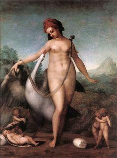 PONTORMO, Jacopo  Leda and the Swan  1512-13  Oil on wood, 55 x 40 cm  Galleria degli Uffizi, Florence.