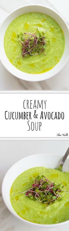 This Creamy Cucumber & Avocado Soup makes a delicious summer lunch or dinner recipe! Great for people who are vegan, vegetarian, gluten-free, dairy-free or egg-free and takes minutes to make! Click to read now or pin for later!