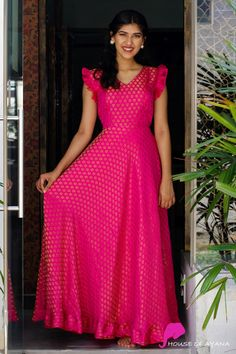 Princess in Pink - House of Ayana Designer Anarkali Dresses, Designer Party Wear Dresses, Indian Designer Outfits, Party Wear Long Gowns, Fancy Gowns, Kurta Designs, Kurti Designs Party Wear, Blouse Designs, Long Dress Design