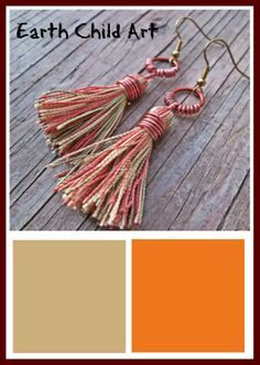 Earrings made with Pantone 2014 colors: Sand, and Celosia Orange