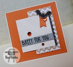 My Little Creative Escape: Batty for You {orange challenge} Confetti Cards, Paper Craft Making, Hand Stamped Cards, Crafty Projects, Halloween Cards, Hallows Eve, Accent Colors, Card Stock, Card Holder