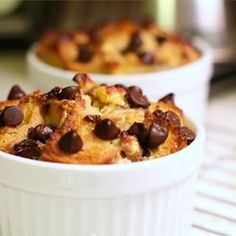 Chocolate Banana Bread Pudding - Allrecipes.com(try with 1/2 c brown sugar (no white, and omit ch. chips)
