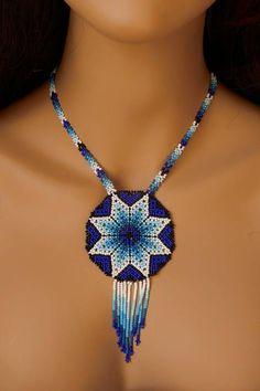 Handbeaded necklace star handmade blue and white beads huichol natine indian boho style Diy Jewelry Rings, Diy Jewelry Unique, Diy Jewelry To Sell, Diy Jewelry Necklace, Handmade Beaded Jewelry, Simple Necklace, Unique Necklaces, Beaded Earrings, Beaded Choker