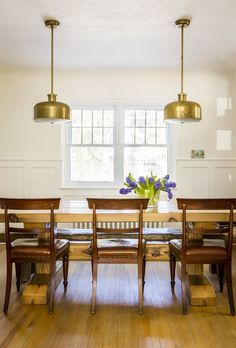 Contrast between table and chairs, lighting, crisp, clean brightness.
