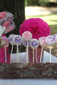 Drill holes in firewood for a cake pop (or in this case chocolate dipped Oreo pop) stand that compliments the Enchanted Woods theme. Fairy Birthday Party, Birthday Parties, Camping Parties, Camping Theme, Cake Pop Holder, Wedding List, Wedding Ideas, Cake Pop Stands, Cookie Pops
