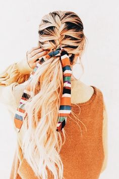 Best Stores to Buy Scrunchies & Scrunchie Hairstyles - Design & Roses- beautiful braids Summer Hairstyles, Pretty Hairstyles, Hairstyle Ideas, Wedding Hairstyles, Men's Hairstyle, Headband Hairstyles, Braided Hairstyles, Hairstyles Men, Teenage Hairstyles