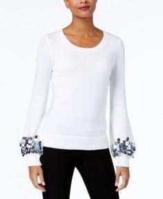 Michael Michael Kors Cotton Sequin-Cuff Sweater,a Macy's Exclusive Style - Tan/Beige XXS
