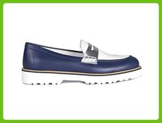 HOGAN LOAFER IN WHITE AND BLUE LEATHER, Womens, Size: 36.