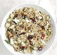 QUINOA SALAD WITH PEARS AND DRIED CHERRIES http://www.finecooking.com/recipes/quinoa-salad-pears-dried-cherries.aspx
