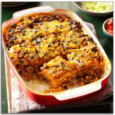 Jan 2020 - Here's a heap of cozy comfort. The Taste of Home Test Kitchen took my recipe for chili without beans and turned it into a scrumptious enchilada casserole. —Molly Butt, Granville, Ohio Bratwurst Recipes, Chili Recipes, My Recipes, Mexican Food Recipes, Cooking Recipes, Ethnic Recipes, Favorite Recipes, Cheeseburger Tater Tot Casserole, Enchilada Casserole