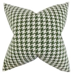 """With its distinct houndstooth pattern in shades of pine green and white, this throw pillow is definitely a steal. Grab a few pieces of this geometric pillow and decorate your living space for an updated look. This 18"""" pillow is made of 15% polyester and 85% cotton material. Crafted in the USA. $55.00 #houndstooth   #greenandwhite   #homedecor   #interiorstyling   #throwpillow"""