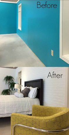Get the look of a warehouse loft! A simple and inexpensive way to DIY a Faux White Brick Bedroom Wall - How To