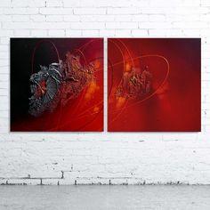 Tableau abstrait diptyque contemporain toile design peinture acrylique en relief noir rouge orange bordeaux argenté étain : Peintures par tableaux-abstraits-nathalie-robert