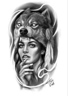Art Drawings Sketches Simple, Tattoo Sketches, Tattoo Drawings, Wolf Tattoos, Animal Tattoos, Girl Tattoos, Tattoo Studio, Latino Art, Lowrider Art