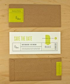 Love the bright green and the brown kraft paper envelopes