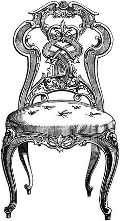 vintage chair clip art, black and white clipart, antique