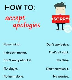 How to accept apologizes English Sentences, English Vocabulary Words, Learn English Words, English Phrases, Grammar And Vocabulary, English Language Learners, English Idioms, English Lessons, English Grammar