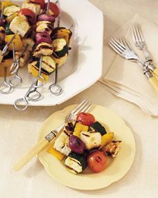 This is based on traditional panzanella -- an Italian bread salad -- but the ingredients are grilled to intensify their flavor. You'll need 24 metal or wooden skewers; soak wooden ones 15 minutes in water before threading them. Per serving: 142 calories, 3 g fat, 18 mg cholesterol, 20 g carbs, 374 mg sodium, 10 g protein, 2 g fiber