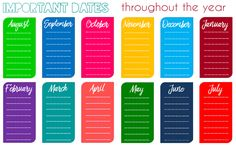 Eat. Write. Teach. Important Dates Printable
