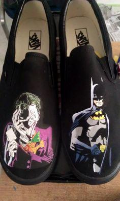 16ec1c42039ec3 Handpainted Batman   Joker Shoes - Vans.  130.00