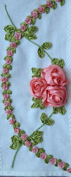 Wonderful Ribbon Embroidery Flowers by Hand Ideas. Enchanting Ribbon Embroidery Flowers by Hand Ideas. Ribbon Embroidery Tutorial, Silk Ribbon Embroidery, Crewel Embroidery, Embroidery Thread, Embroidery Tattoo, Embroidery Saree, Embroidery Jewelry, Custom Embroidery, Embroidered Silk