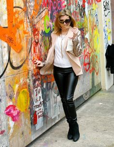 sequin sleeves on a jacket, leather pants