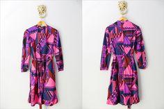 Kleid 1970s Psychedelic Vintage Mod Dress von WildAndVintage auf DaWanda.com